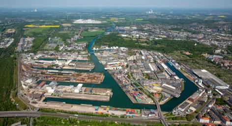 Dortmunder Hafen, Binnenhafen, Dortmund-Ems-Kanal, Containerhafen, Dortmunder Hafen AG,  Dortmund, Ruhrgebiet, Nordrhein-Westfalen, Deutschland
