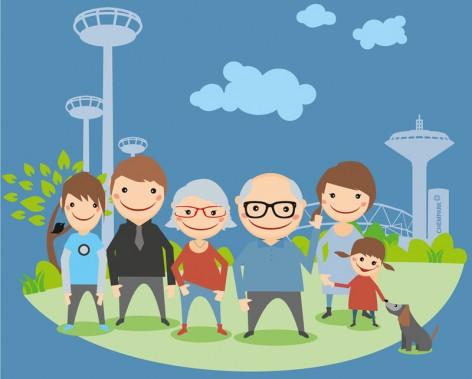 """Familie Meier (v.l.n.r.): Sohn Lucas, Vater Micha, Oma Brigitte, Opa Karl, Mutter Tanja, Tochter Anna und Hund Otto – auch zu sehen in dem """"Was hast Du davon?""""-Film unter https://www.youtube.com/user/CHEMPARKTV."""